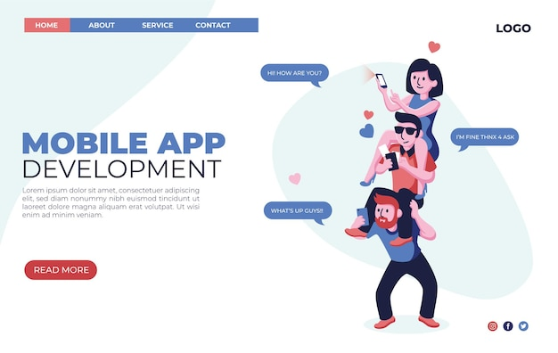 Organic flat mobile app development landing page web design