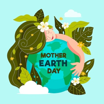 有機フラット母なる地球デーのイラスト
