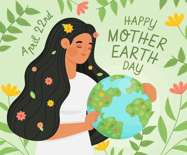 Organic flat mother earth day illustration