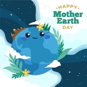Органическая плоская иллюстрация дня матери-земли