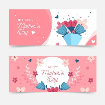Organic flat mother's day banners set