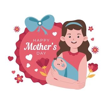 유기 평면 어머니의 날 그림 무료 벡터