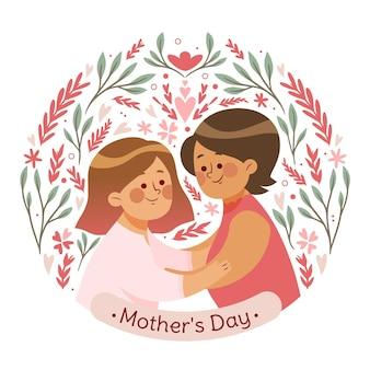 유기 평면 어머니의 날 그림