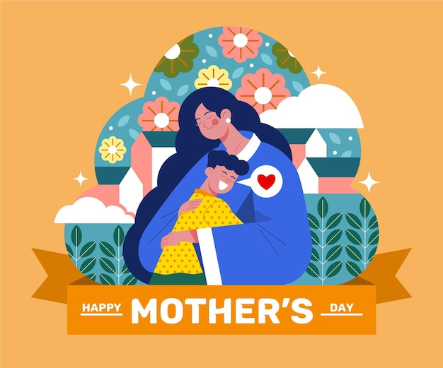 Organic flat mother's day illustration