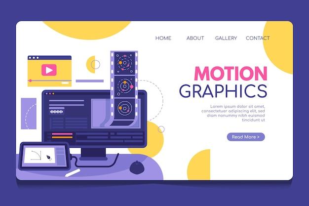 Homepage di motiongraphics piatto organico