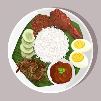 Piatto organico nasi lemak illustrato