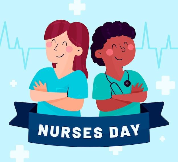 Органический плоский национальный день медсестры иллюстрация