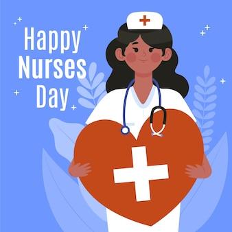 Органическая плоская иллюстрация национального дня медсестер