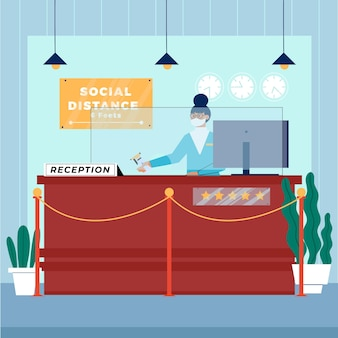 Organic flat new normal in hotels illustration