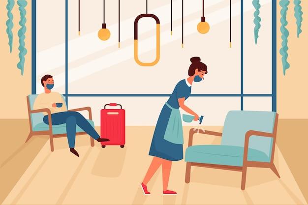 Органический плоский новый нормальный отель на иллюстрации