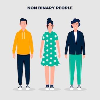 Органические плоские небинарные люди, иллюстрированные