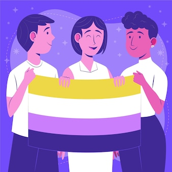organic flat non binary people illustration