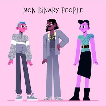 Organic flat non-binary people
