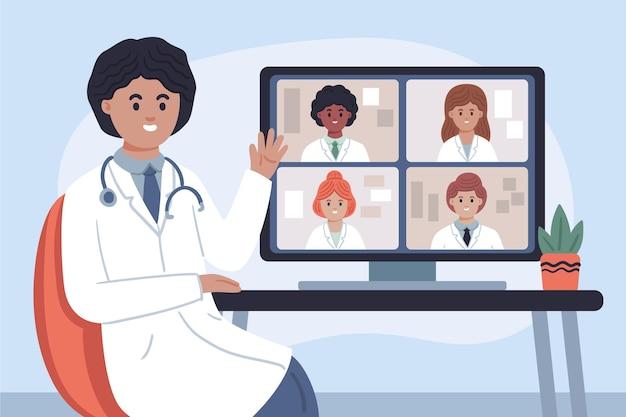 유기 평면 온라인 의료 회의 그림