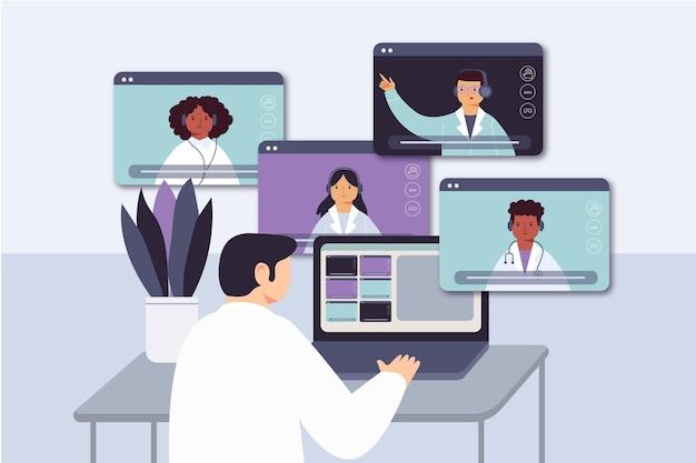 Organic flat online medical conference illustration