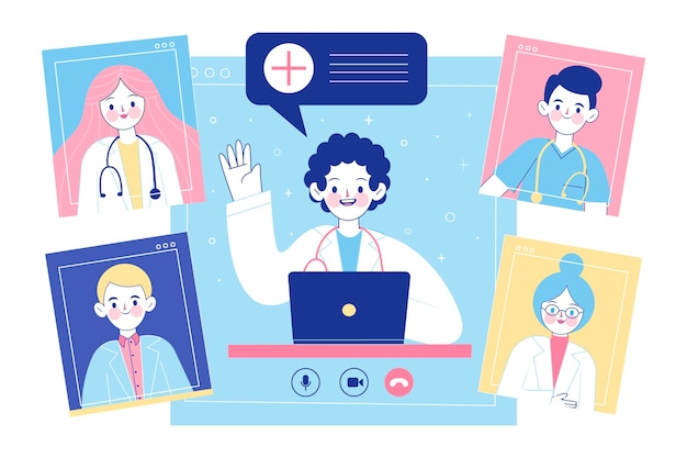 Organic flat online medical conference illustration