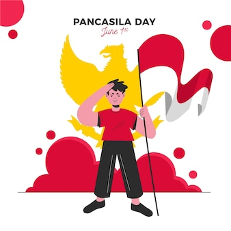 Органическая плоская иллюстрация дня панчасила