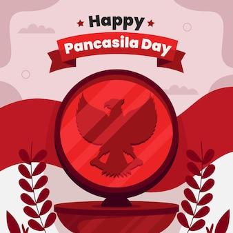 유기 평면 pancasila 하루 그림