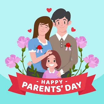 Organic flat parents' day illustration