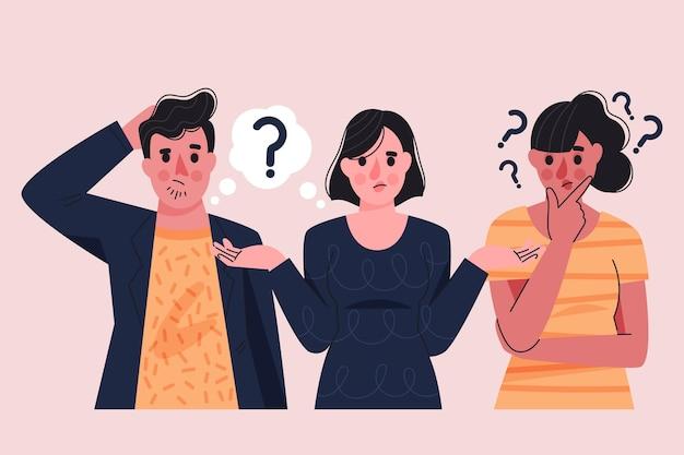 질문 그림을 묻는 유기 평면 사람들