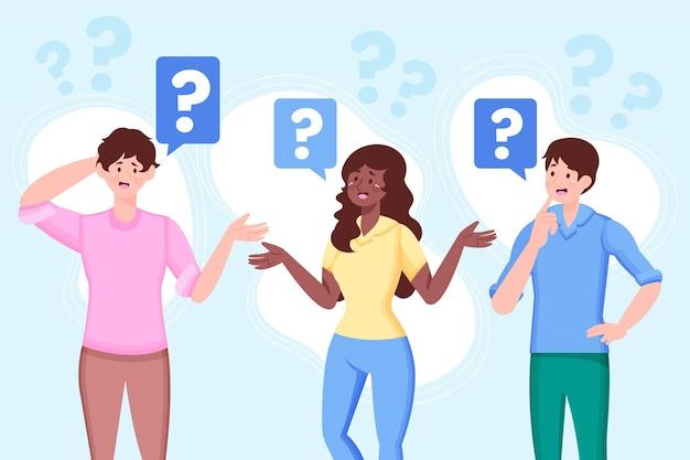Органические плоские люди задают вопросы иллюстрации