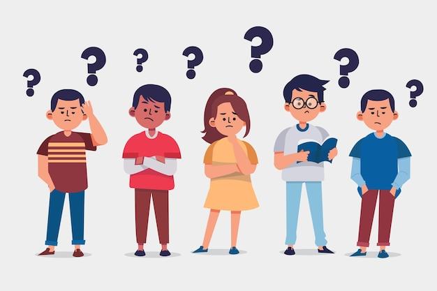 Organic flat people asking questions illustration