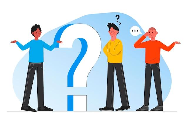 質問イラストを尋ねる有機フラットの人々
