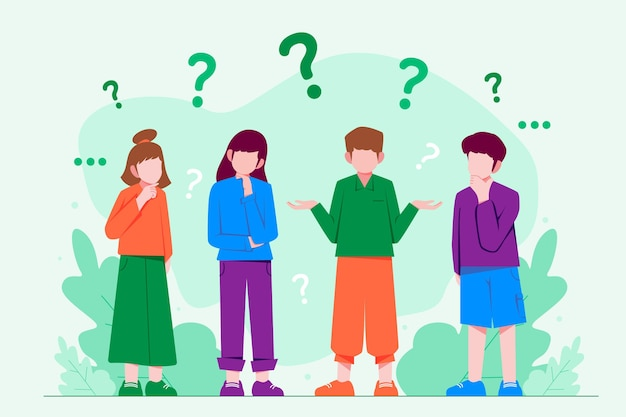 Organic flat people asking questions set