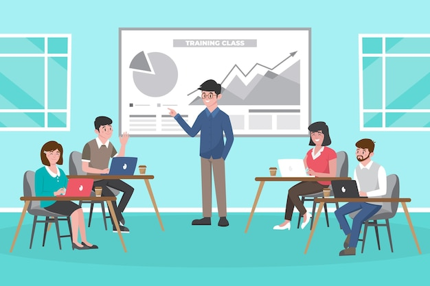 Organic flat people on business training illustration