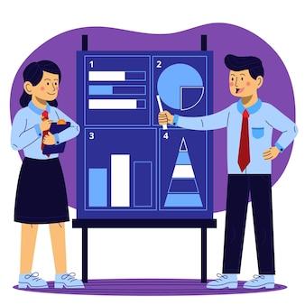 Organic flat people on business training illustration