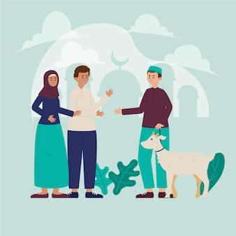 Eid al-adha 일러스트를 축하하는 유기 평면 사람들