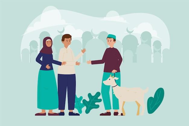 Органические плоские люди празднуют ид аль-адха иллюстрация