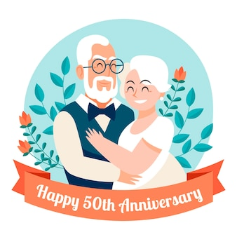 Organic flat people celebrating golden wedding anniversary