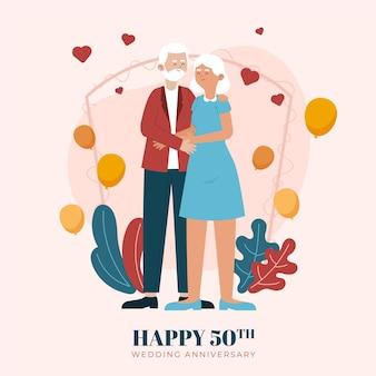 黄金の結婚記念日を祝う有機フラットの人々