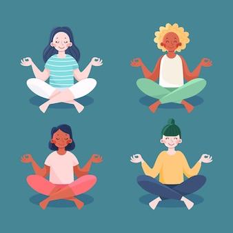 Raccolta di persone piatte organiche meditando