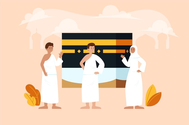 Organic flat people in hajj pilgrimage illustration