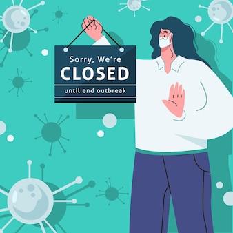 コロナウイルスのために閉じた看板のイラストをぶら下げている有機フラットの人々