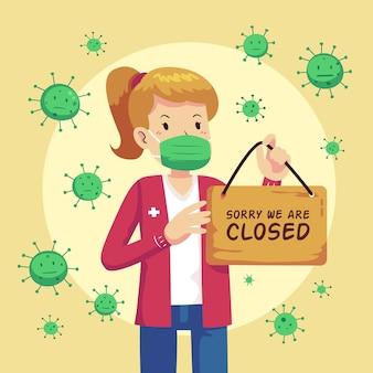Organic flat people hanging a closed signboard illustration due to coronavirus