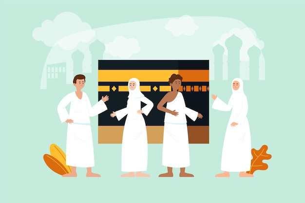 Органические плоские люди в иллюстрации паломничества хаджа
