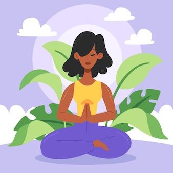 Органические плоские люди медитируют иллюстрация Бесплатные векторы