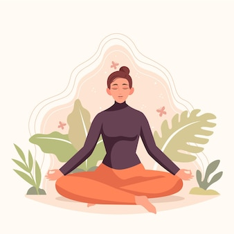 Organic flat people meditating illustration