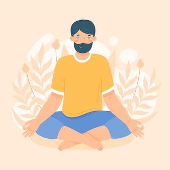 イラストを瞑想する有機フラットの人々