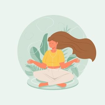 Органические плоские люди медитируют иллюстрация