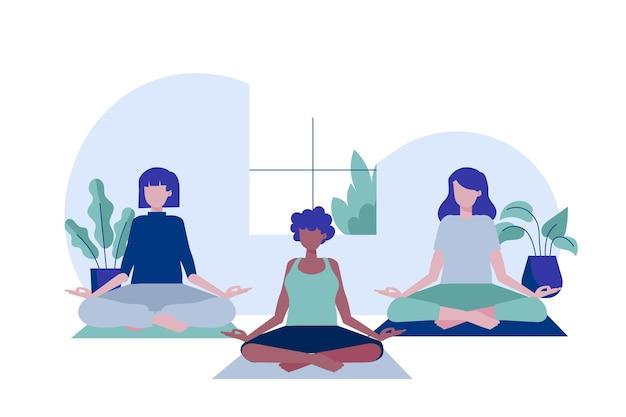 Persone piatte organiche meditando illustrazione