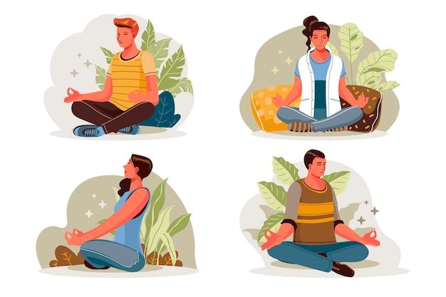 Organic flat people meditating illustration