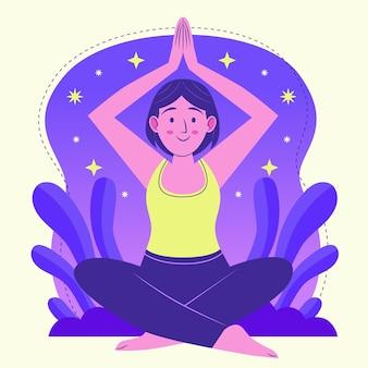 Органические плоские люди медитируют