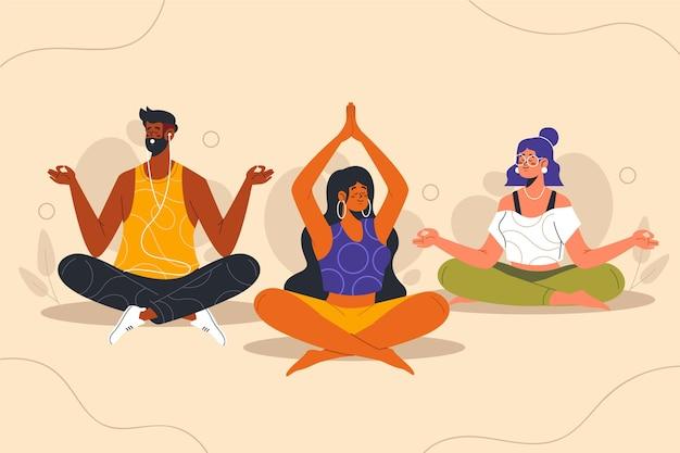 瞑想する有機フラットの人々