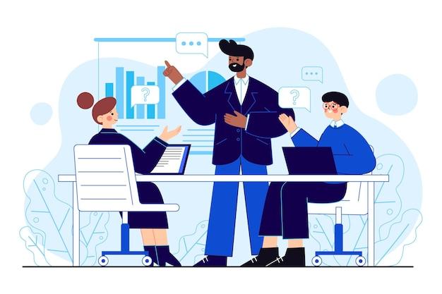 비즈니스 교육 그림에 유기 평면 사람들