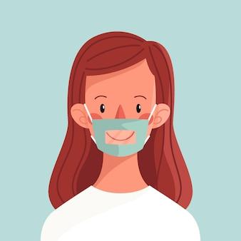 청각 장애인을위한 투명한 안면 마스크를 가진 유기 평평한 사람들
