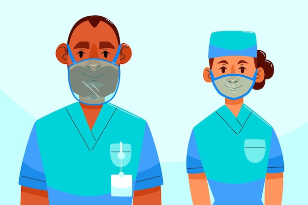 Органические плоские люди с прозрачной маской для глухих